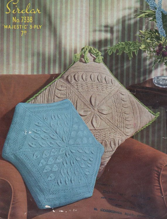 Leaf Design Vintage Knitting Pattern For Cushion By Ellisadine