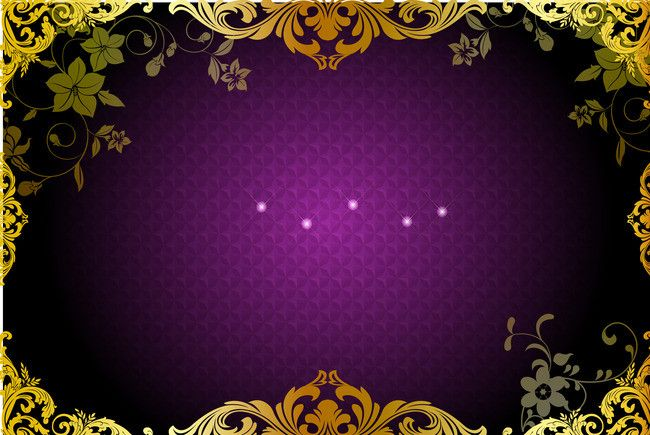 347cfe6b50c2 Vector gold pattern frame purple plaid background material