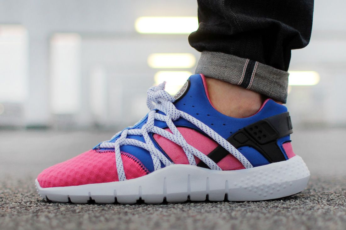 Women Nike Huarache NM Dynamic Pink Game Royal Blue Shoes
