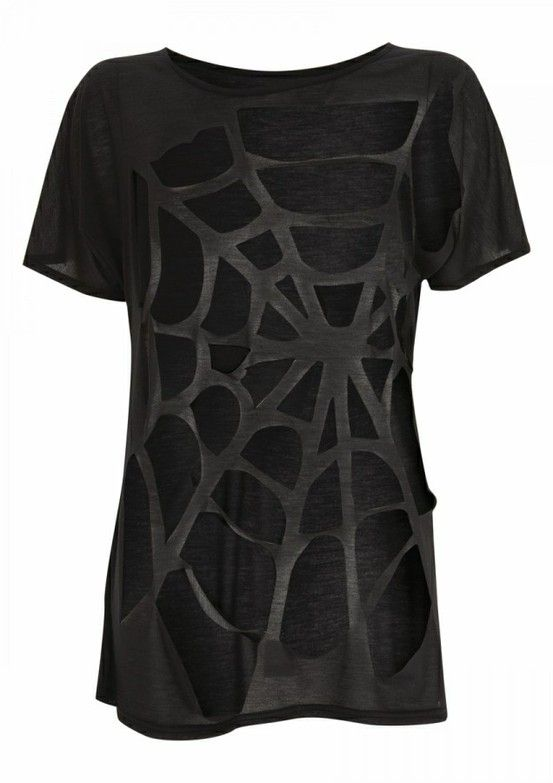 Not Hard To Do Turned Out Cute Spider Web Cut Out Shirt