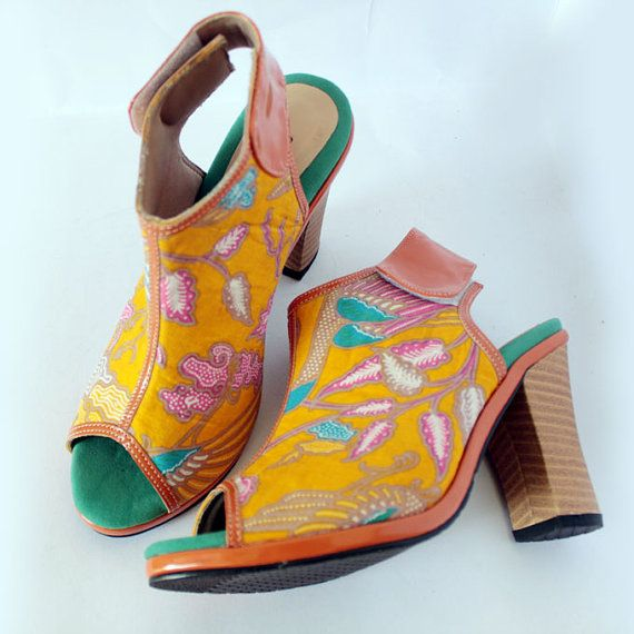 Peep Toe Ankle Boots with bright yellow Indonesian Batik