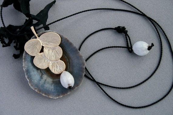 small brass necklace with natural seeds  organic von rokdarbi, $28.00