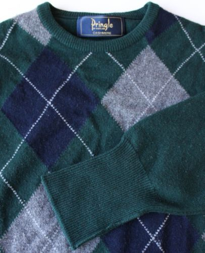 SOFT Pringle Cashmere Argyle Sweater Gray White Navy Green Made in Scotland Sz M