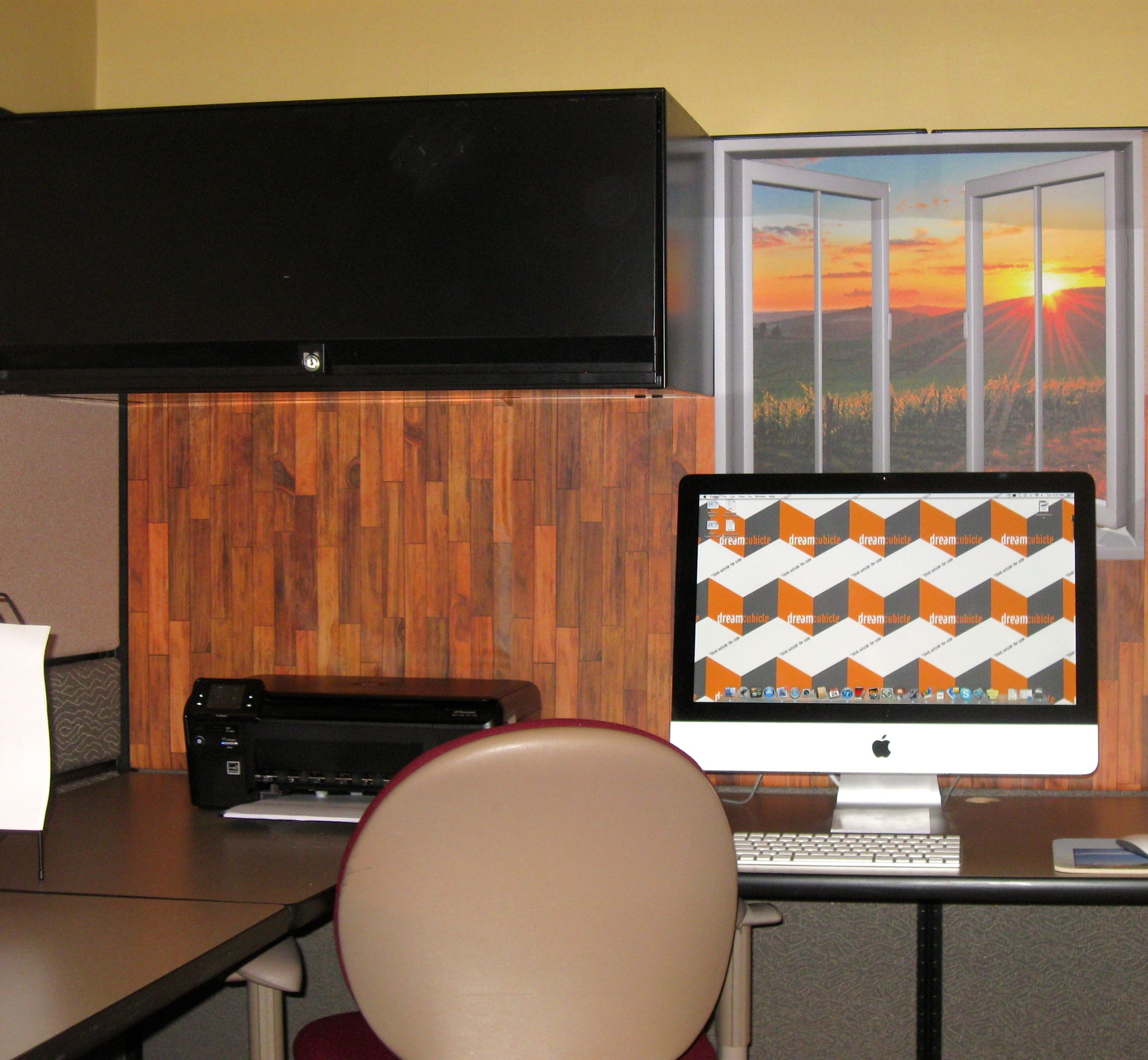 Decorate your cubicle with our easy-stick wallpaper wood design and window view from Dream ...