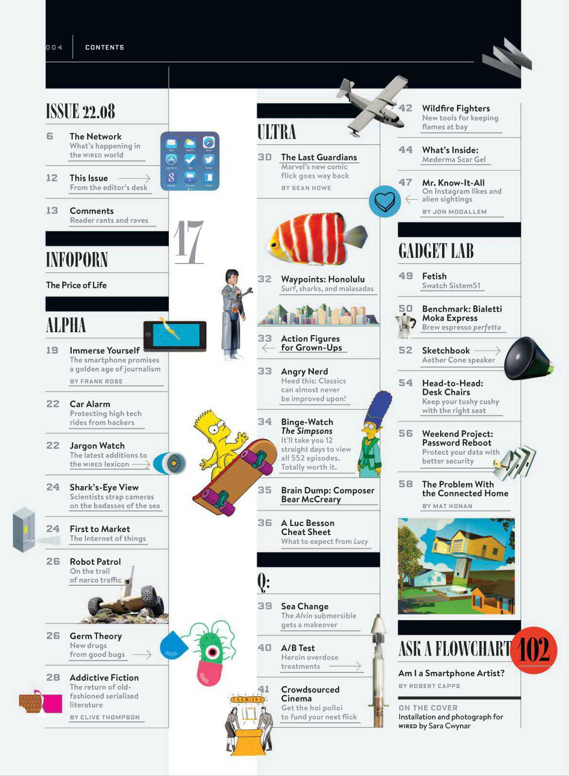 Wired magazine TOC, second pg | Design & Typography | Pinterest ...