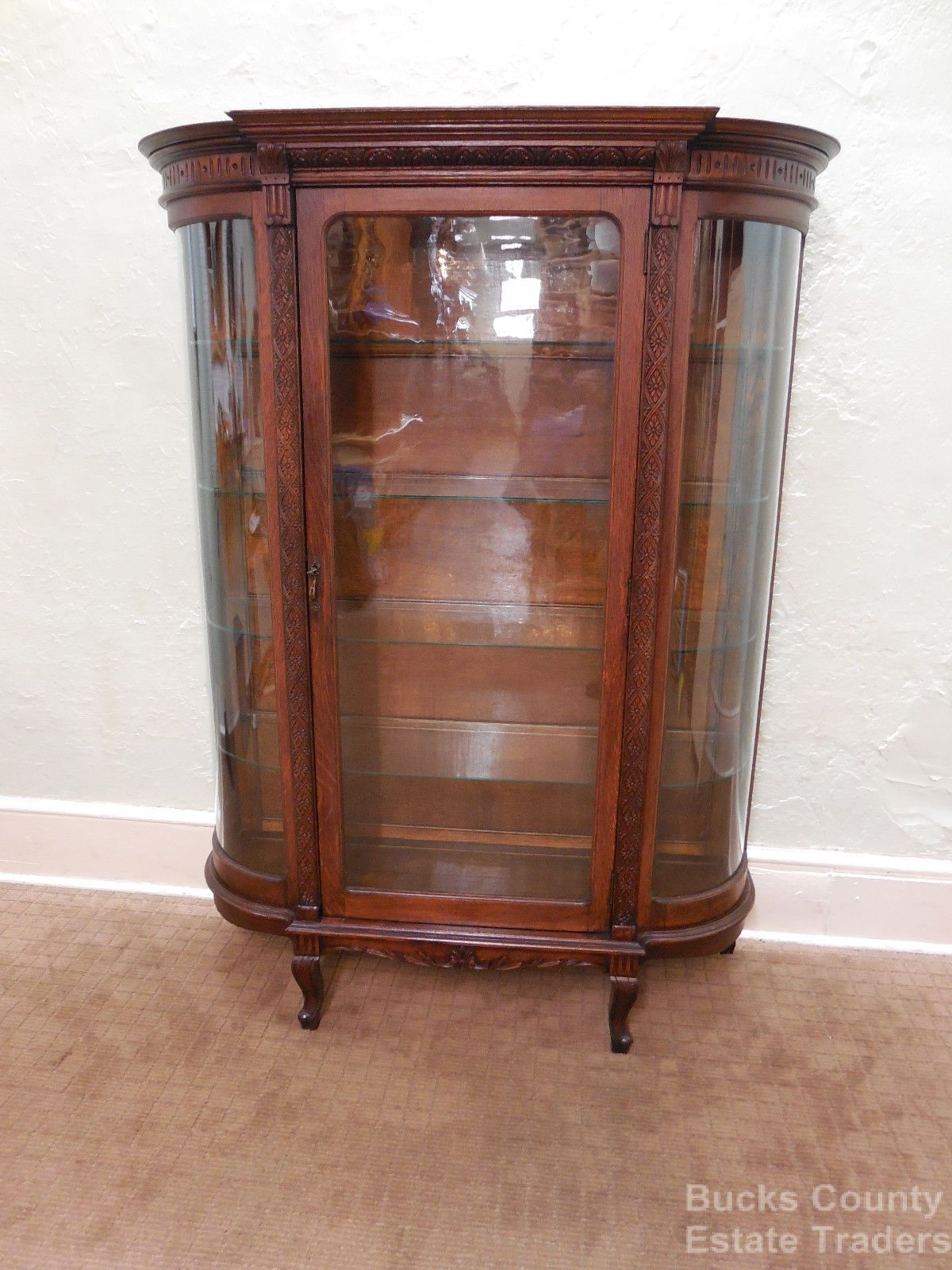 Antique Victorian Oak Bowed Glass China Curio Cabinet - Price My Item: Value Of American Victorian Carved Oak Curved Glass