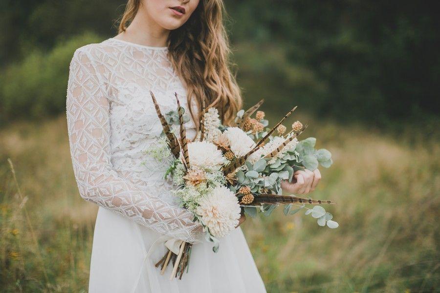 Brautstrauss Mit Federn Passend Zur Hippie Braut Brautstrausse