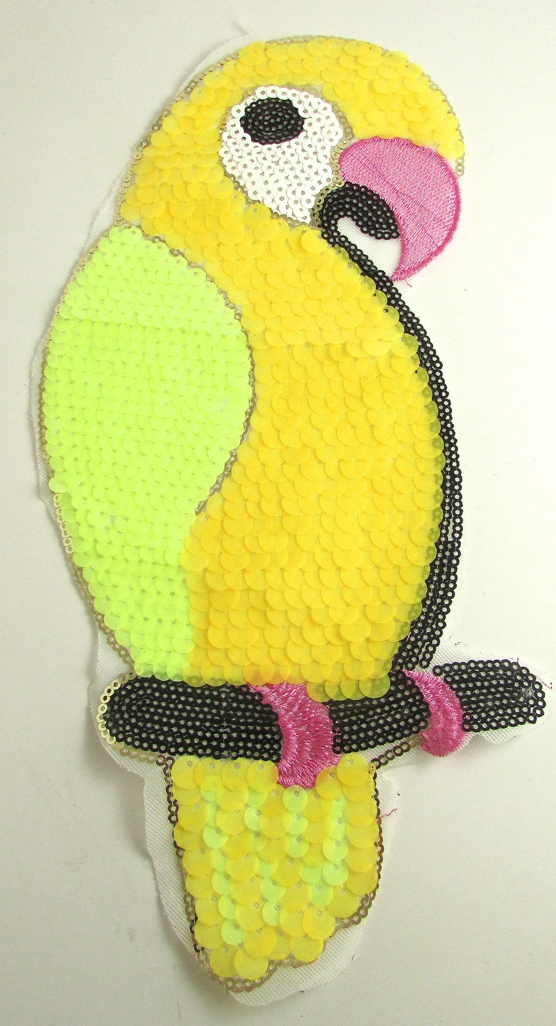 """Parrot with Bright Yellow and Lime Green Sequins 11.5"""" x 5"""""""