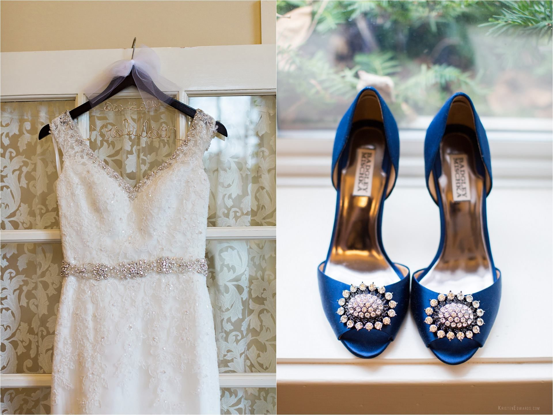 Beautiful wedding dress blue wedding shoes kristen edwards