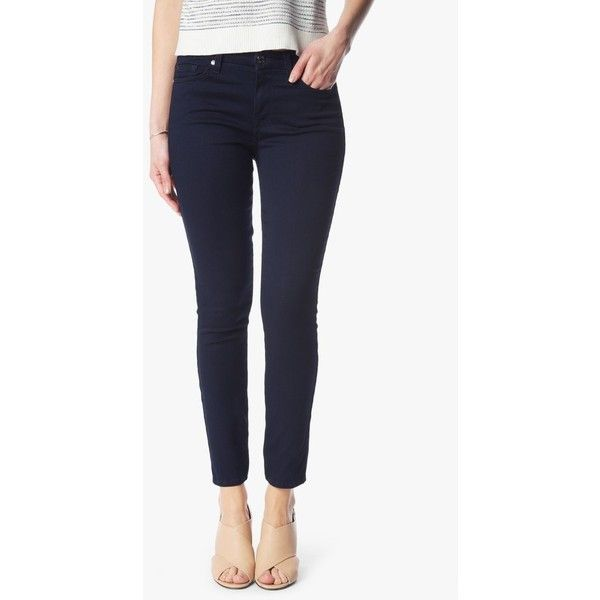 7 For All Mankind Featherweight Denim High Waist Ankle Skinny In Rich... ($168) ❤ liked on Polyvore featuring jeans, denim, pants, rich blue, stretch denim jeans, denim skinny jeans, blue skinny jeans, stretch skinny jeans and skinny fit jeans