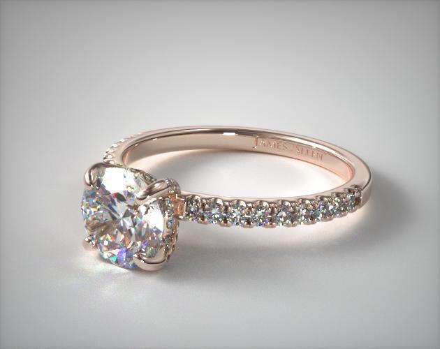 Favorite Petite Pave Crown Diamond Engagement Ring 14k Rose Gold