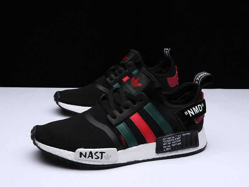 00148bd8b644a 2018 Popular Unisex OFF WHITE X Adidas NMD R1 PK Black Green Red White