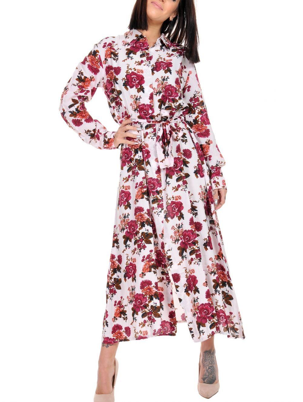 77d103a70692 ALE Μακρυμάνικο μάξι φλοράλ φόρεμα