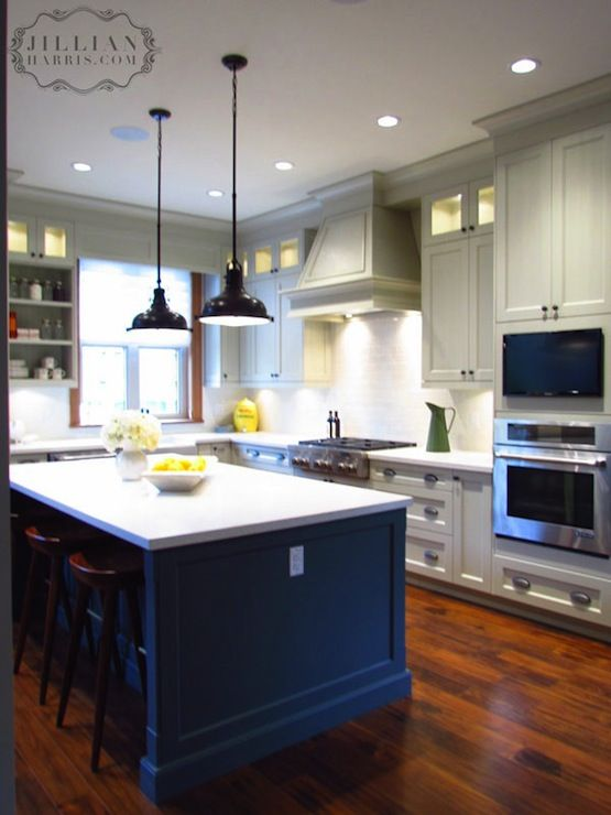 Jillian harris two tone kitchen design with light gray for Grey shaker style kitchen cabinets