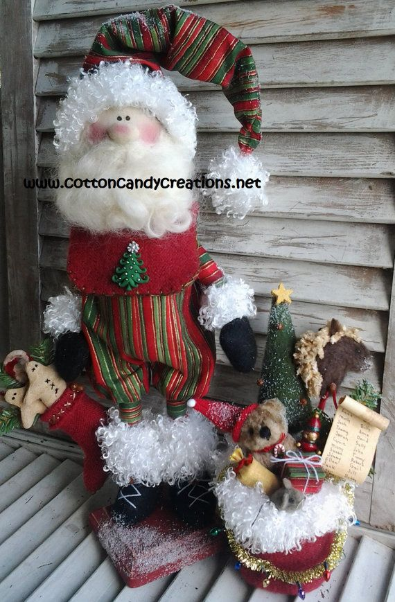 Primitive Pattern - Primitive Christmas Adorable Santa E-Pattern