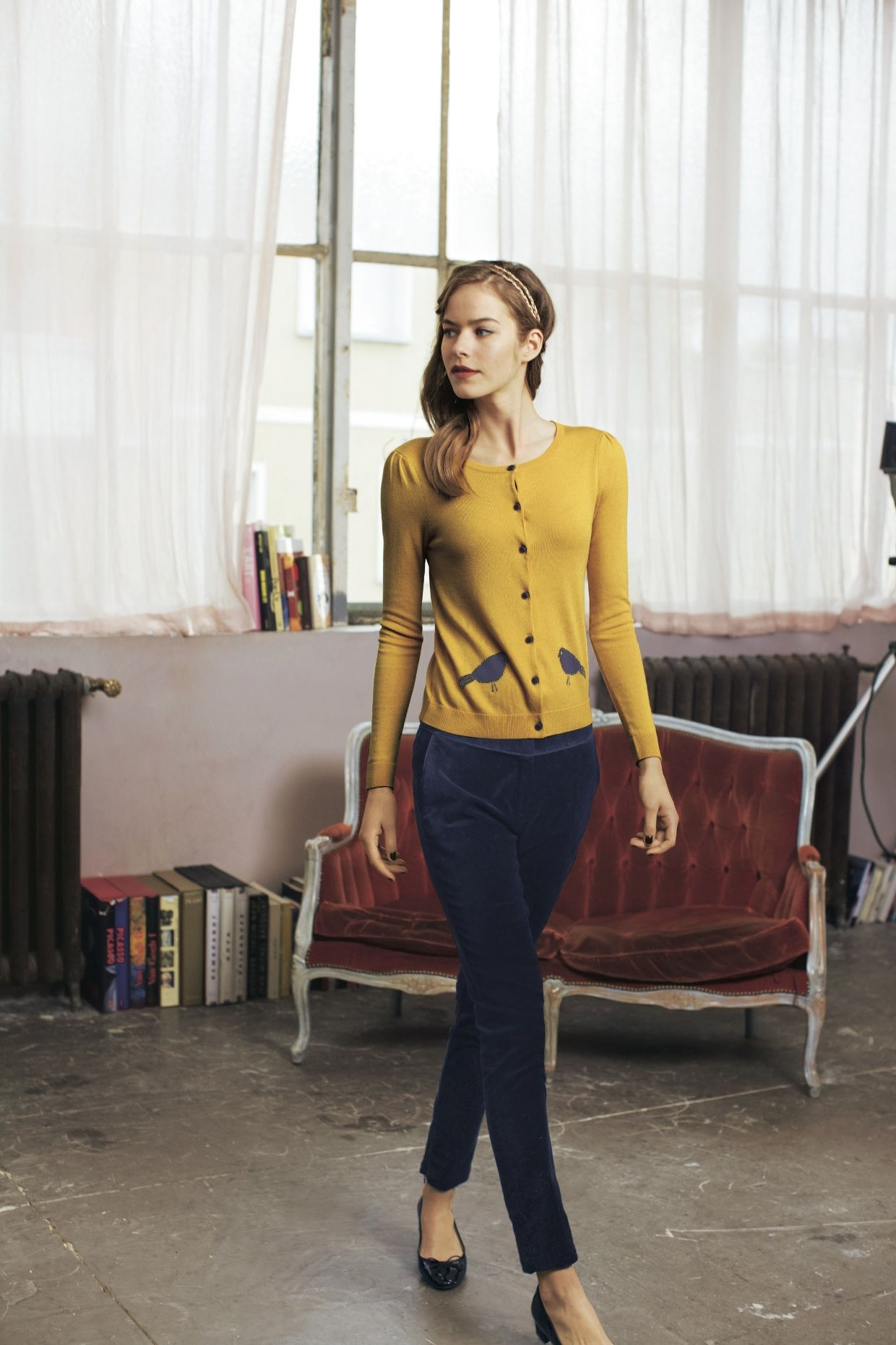Yellow cardigan with gray birds, black pants, and heels. | Autumn ...