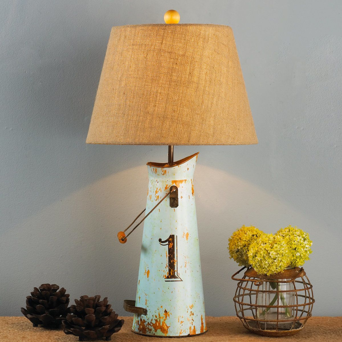 Milk Can Table Lamp is part of Country Home Accessories Lamps - Add some vintage charm to your room with these colorful distressed metal milk can lamps with burlap shades   Aqua Blue 1 3way 100 watts 28 Hx12 W