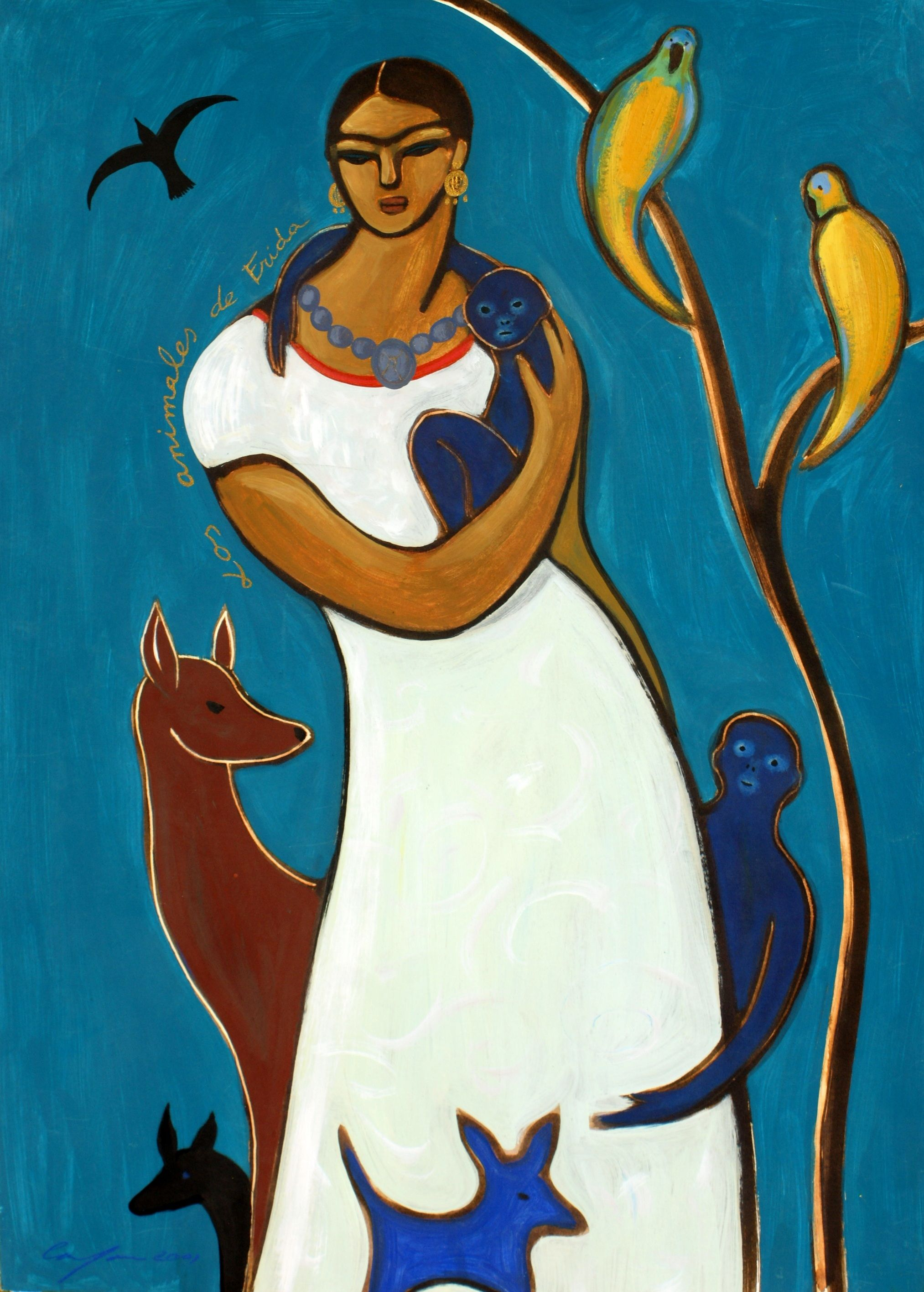 Carmen Garcia Gordillo, Spanish artist animals of Frida Kahlo  blue illustration. acrylic painting