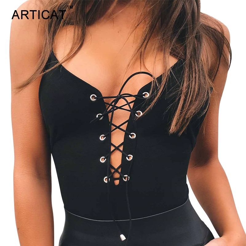 Articat Sexy Lace Up Bodysuit Women Summer Tops Spaghetti Strap V Neck  Backless Rompers Womens Jumpsuit Party Bodycon Overalls 0c0394497