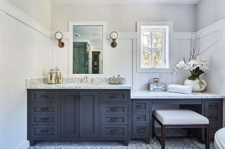 Stunning Black And White Bathroom Boasts White Board And Batten Walls Lined With Light Gray Upper Walls Comple Bath Cabinets Black Bath Bathroom Remodel Shower