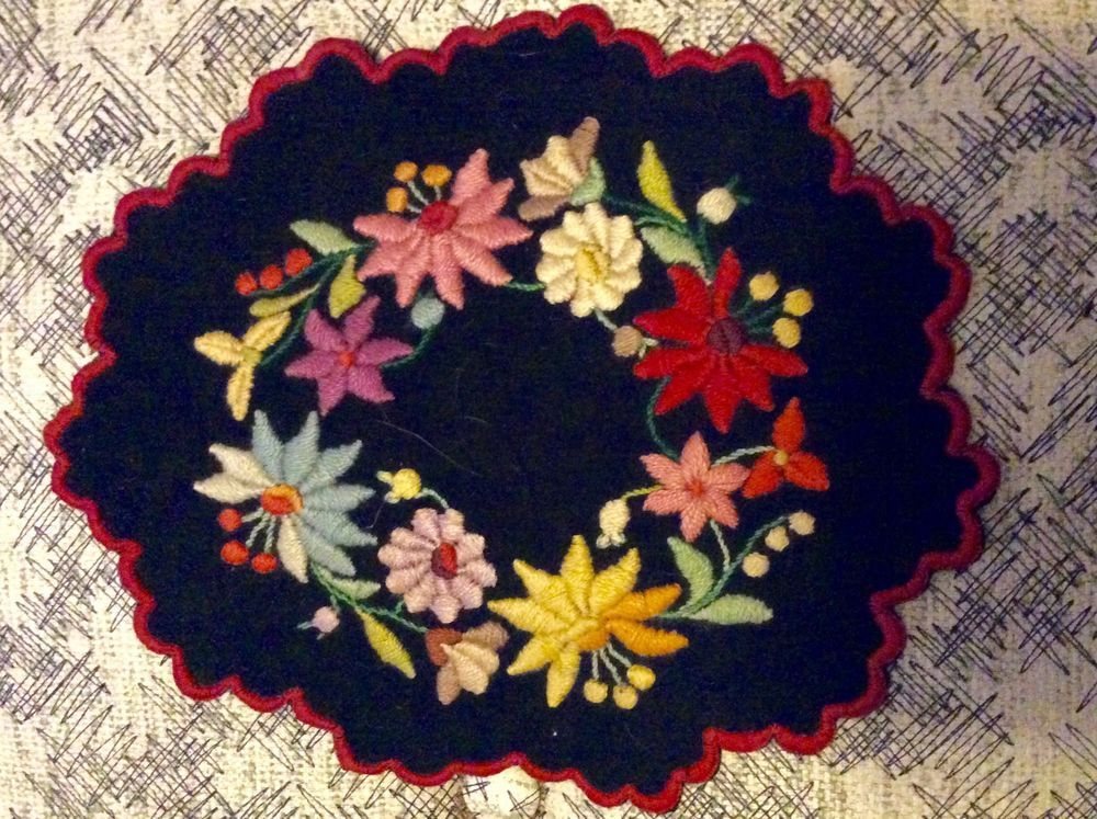 Vintage Austrian Or Hungarian Wool Felt Embroidered Flowers Center Doily