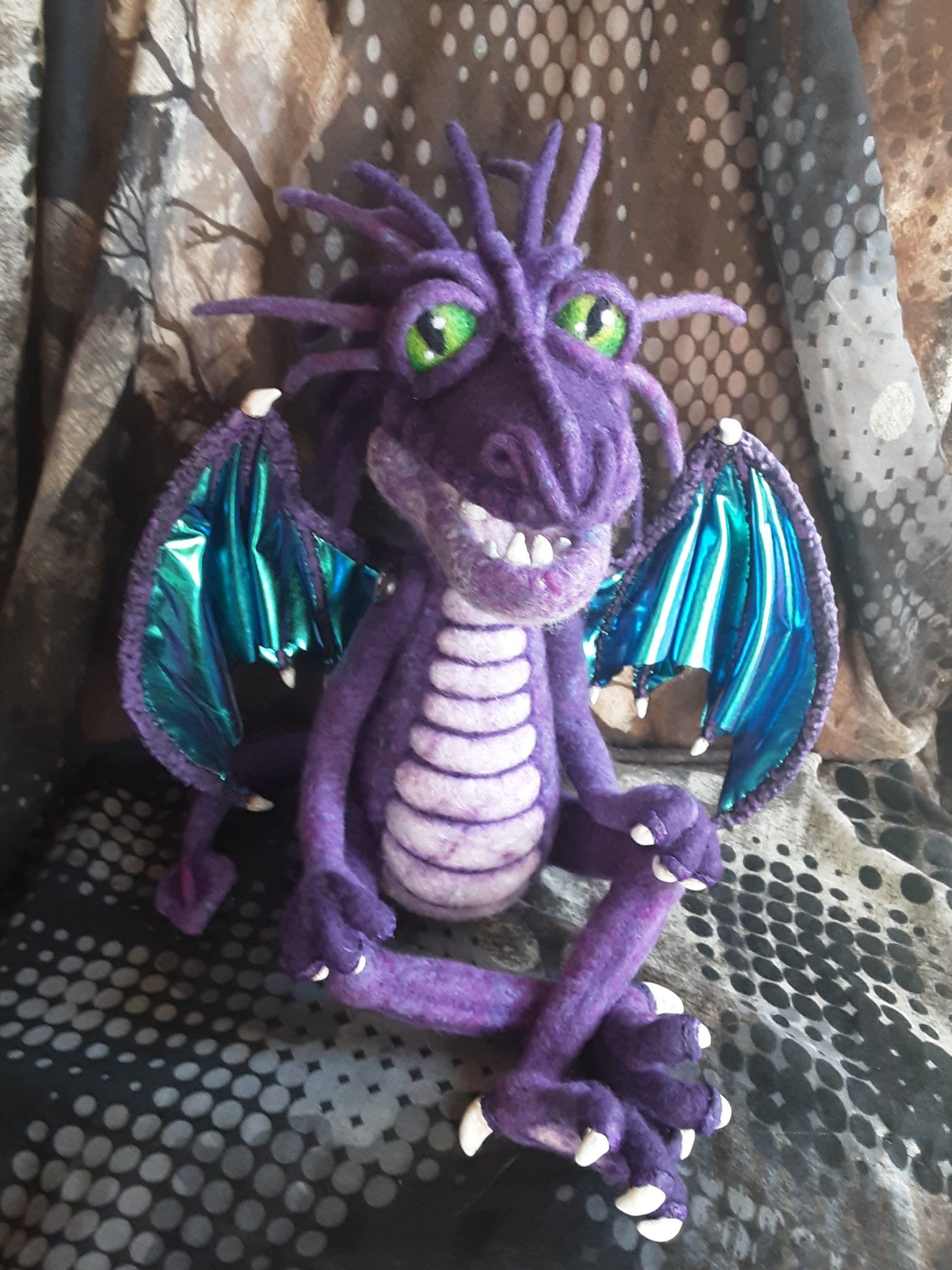Reserved Listing Dragon Art, Draglin Soft Sculpture, Needle Felt Dragon, Handmade Dragon, Art Doll, Felted Dragon, OOAK Dragon