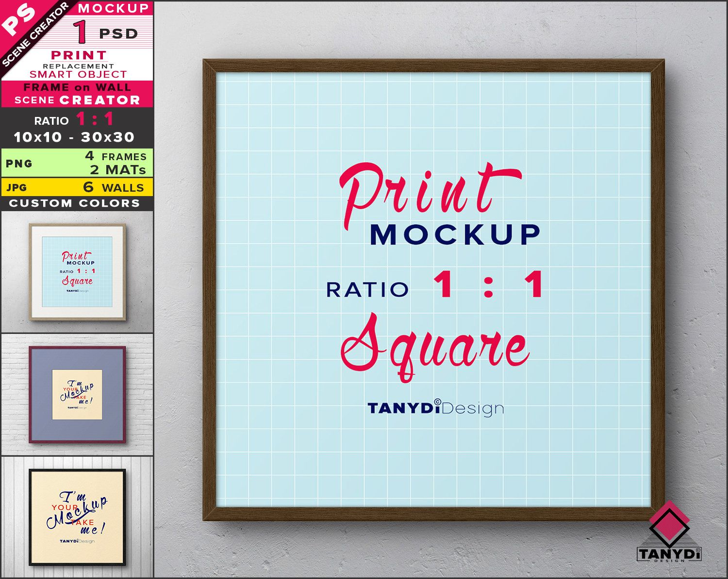 Square Frame On Wall Photoshop Print Mockup Png Wood Frame And 2 Mats Smart Object Mock Up Scene Creator F 11 W 6 Scene Creator Frames On Wall Frame