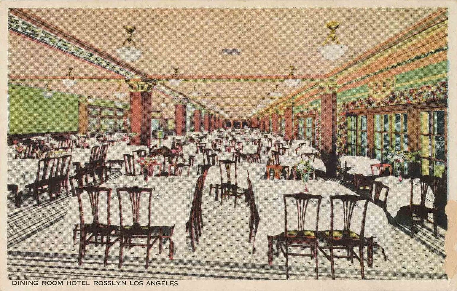 Rosslyn Hotel's dining room in the 1920s, Los Angeles