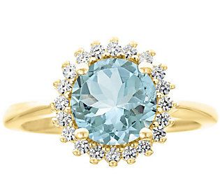 Premier 1.50cttw Round Aquamarine & Diamond Ring, 14K