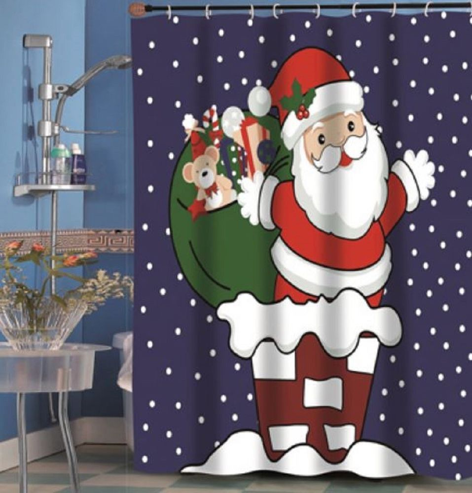Down The Chimney With Care Shower Curtain Santa Claus Holiday Bath