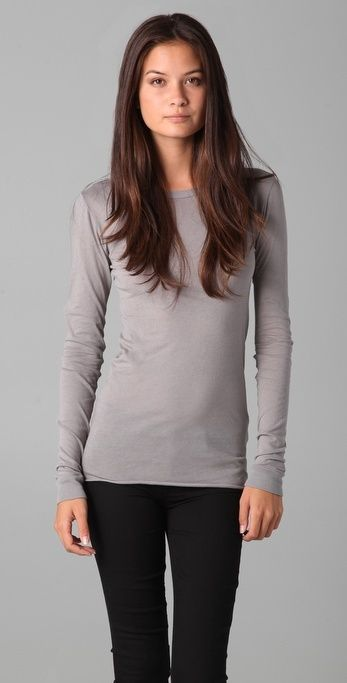 Enza Costa Bold Long Sleeve Crew Tee thestylecure.com
