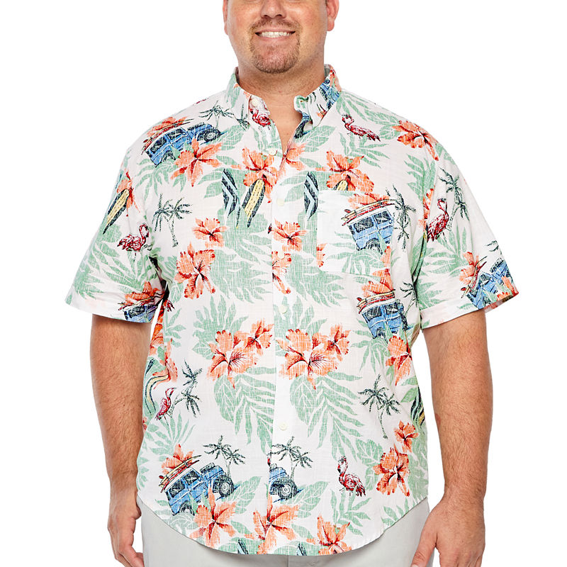 7a03ec0f IZOD Saltwater - Dockside Chambray Short Sleeve Button-Front Shirt-Big and  Tall