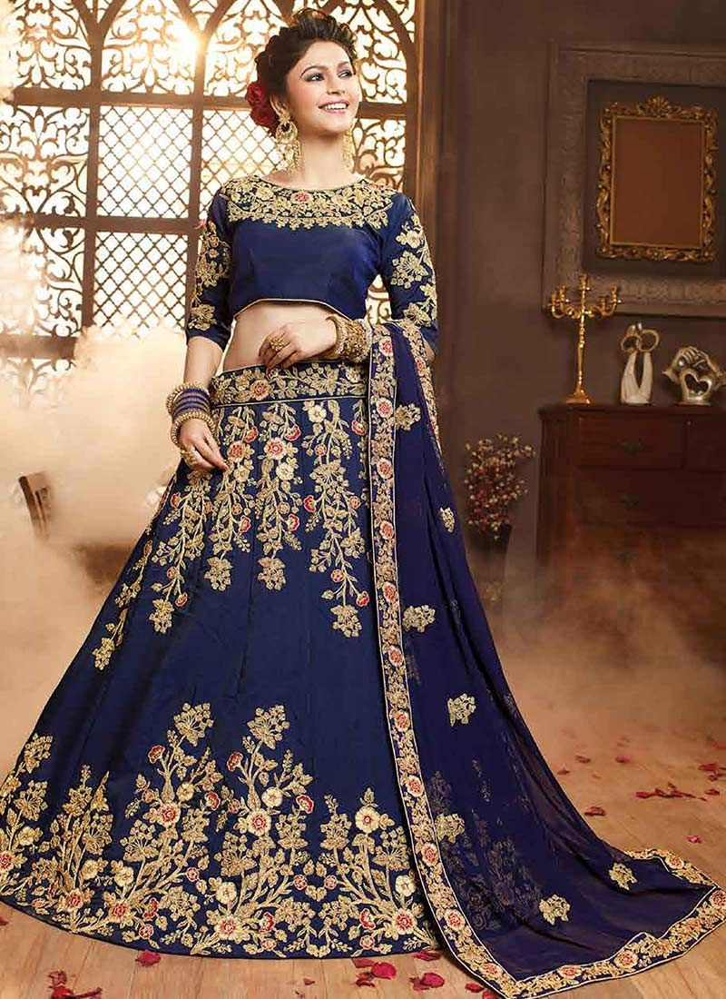 4bd0eced0ebfce Buy Navy Blue Art Silk A Line Lehenga online, SKU Code: GHSVNT10607. This  Blue color Wedding a line lehenga for Women comes with Embroidered Art Silk.