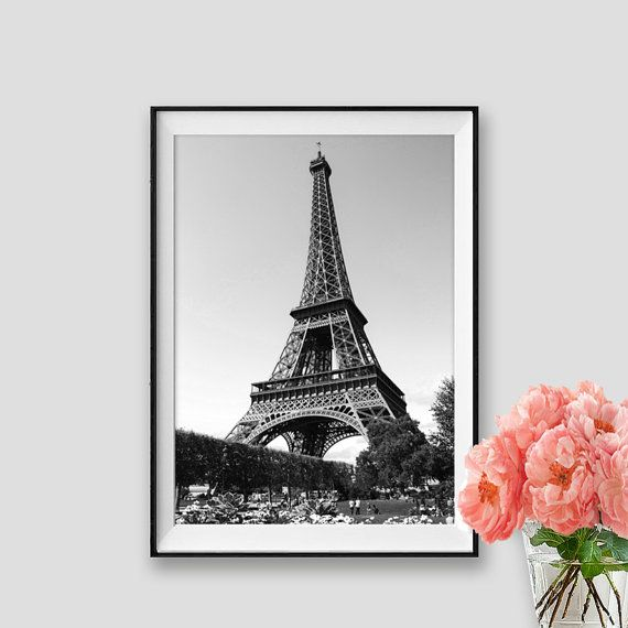 Black And White Eiffel Tower Art Paris Print Instant Decor Photograpy Wall