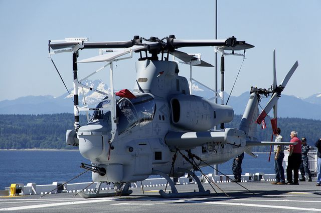 Marine Cobra helicopter chained to USS Bonhomme Richard flight deck by Official U.S. Navy Imagery, via Flickr