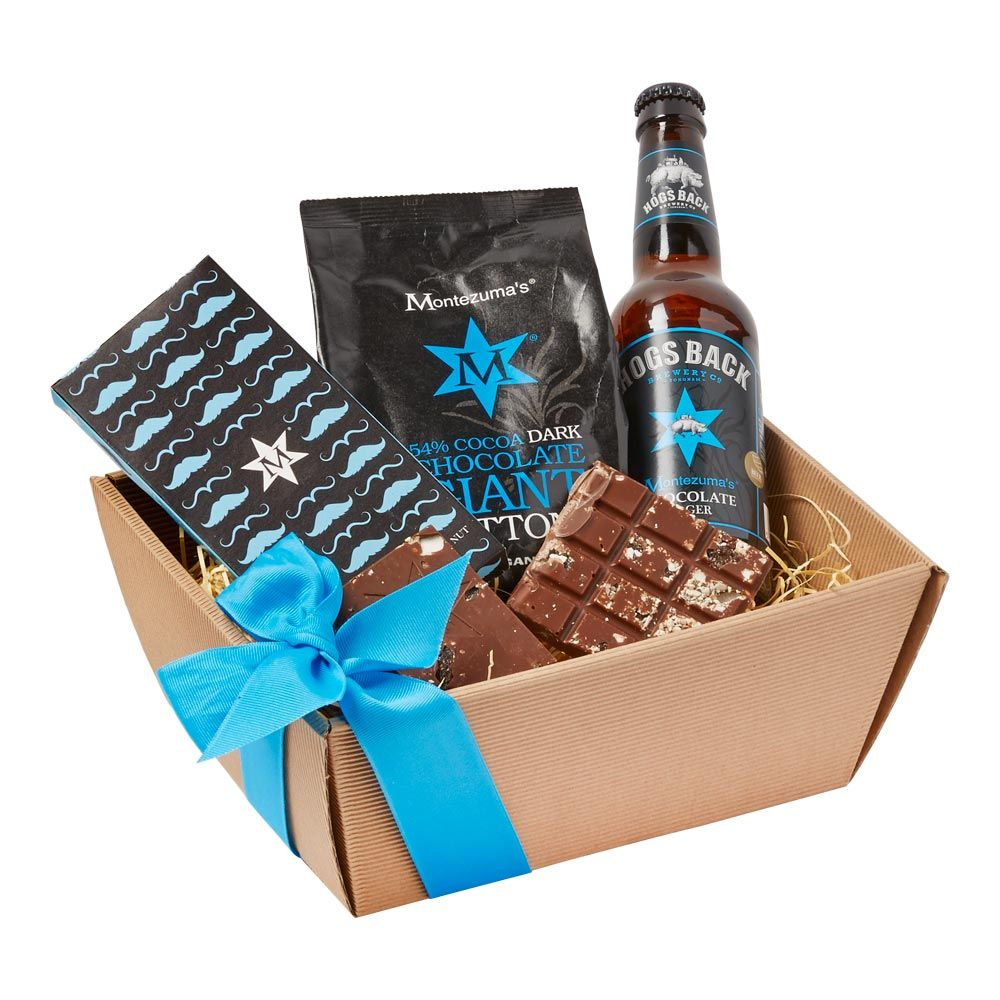 Montezuma Gentlemens Gift Set Dark chocolate, Fruit & nut slab washed down with Chocolate Lager by Hogs Back Brewery! £15 Food Gift Sets, Cheese Hampers, ...