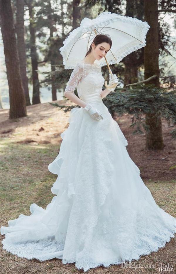 Discount Modest 3/4 Long Sleeve Tulle Wedding Dresses Open Back ...