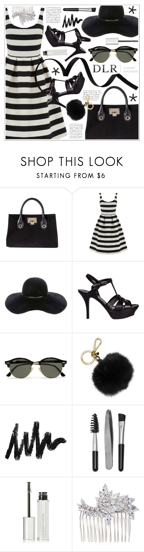 """""""DLRBOUTIQUE.COM"""" by becky12 ❤ liked on Polyvore featuring Jimmy Choo, Warehouse, Eugenia Kim, Yves Saint Laurent, Ray-Ban, MICHAEL Michael Kors, Sephora Collection, Givenchy and CZ by Kenneth Jay Lane"""