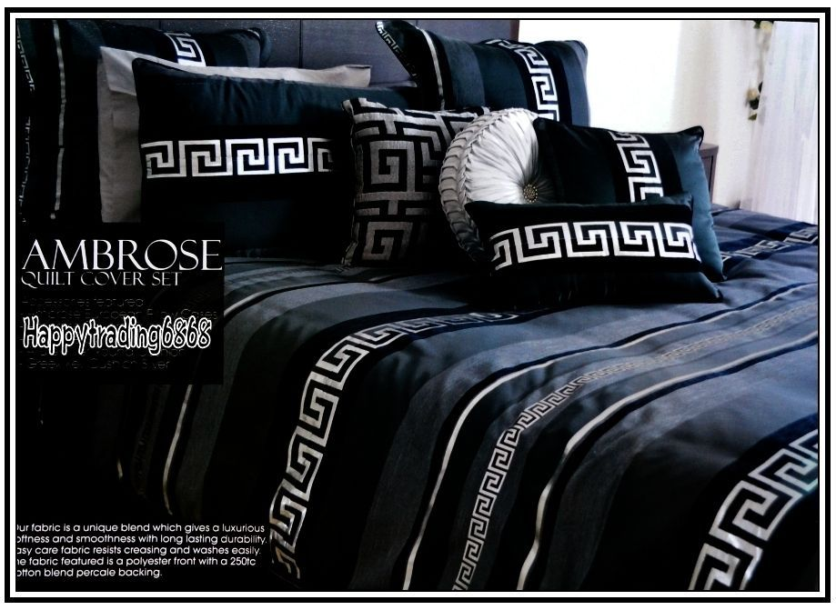 Greek Key Black Charcoal Silver 3pc Queen Quilt Doona