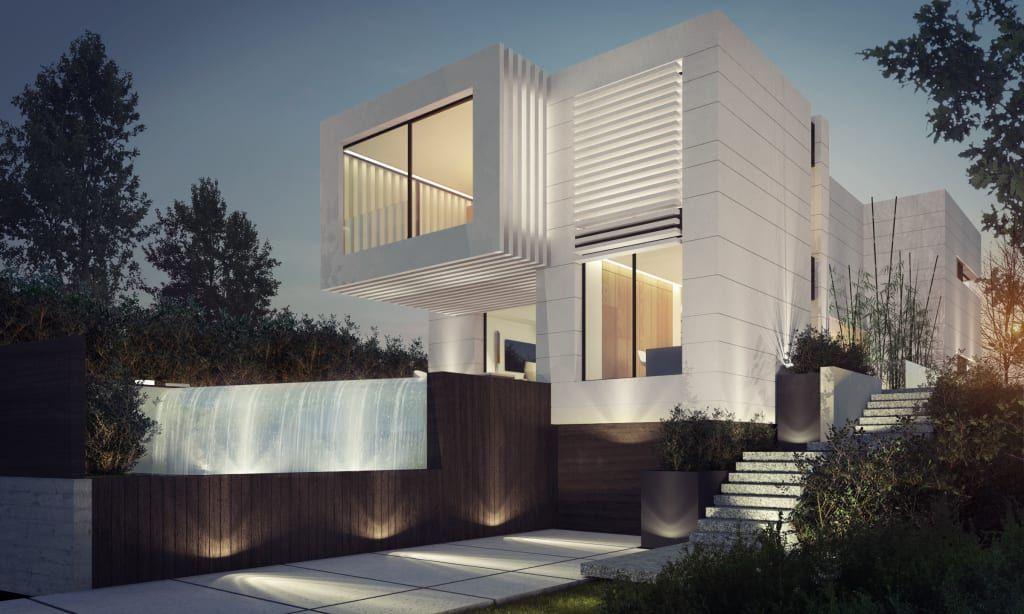 Busca imágenes de diseños de Casas de estilo moderno en beige de EAU ARQUITECTURA S.L.P.. Encuentra las mejores fotos para inspirarte y crea tu hogar perfecto.