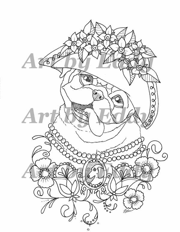 Pug Coloring Book For All Ages Coloring Pages Dog Coloring Page