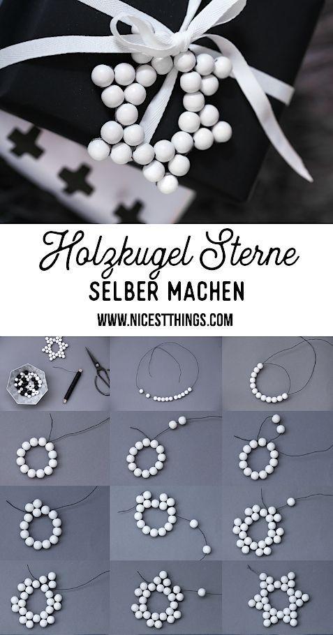 Holzkugel Sterne basteln & Schneeflocken Geschenkanhänger aus Bügelperlen / Hama Perlen - Nicest Things
