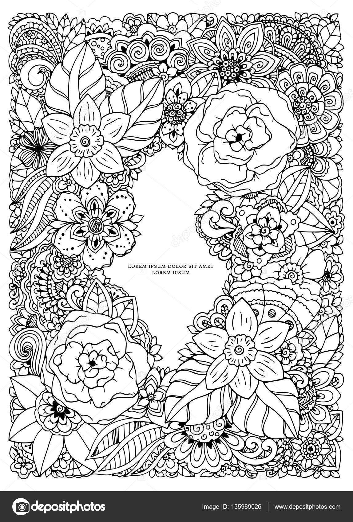 Vector ilustración zentangl, marco flores. Doodle de dibujo ...
