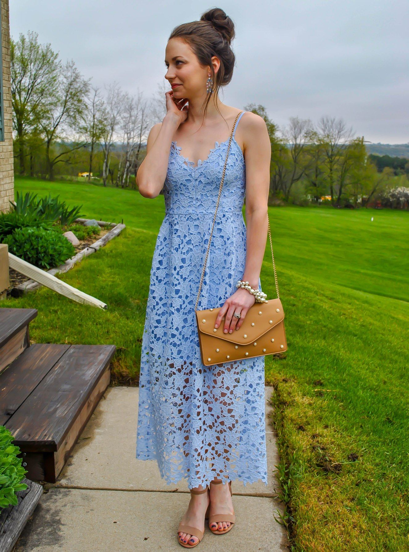 Astr The Label Lace Midi Dress Petite Review Wedding Guest Attire