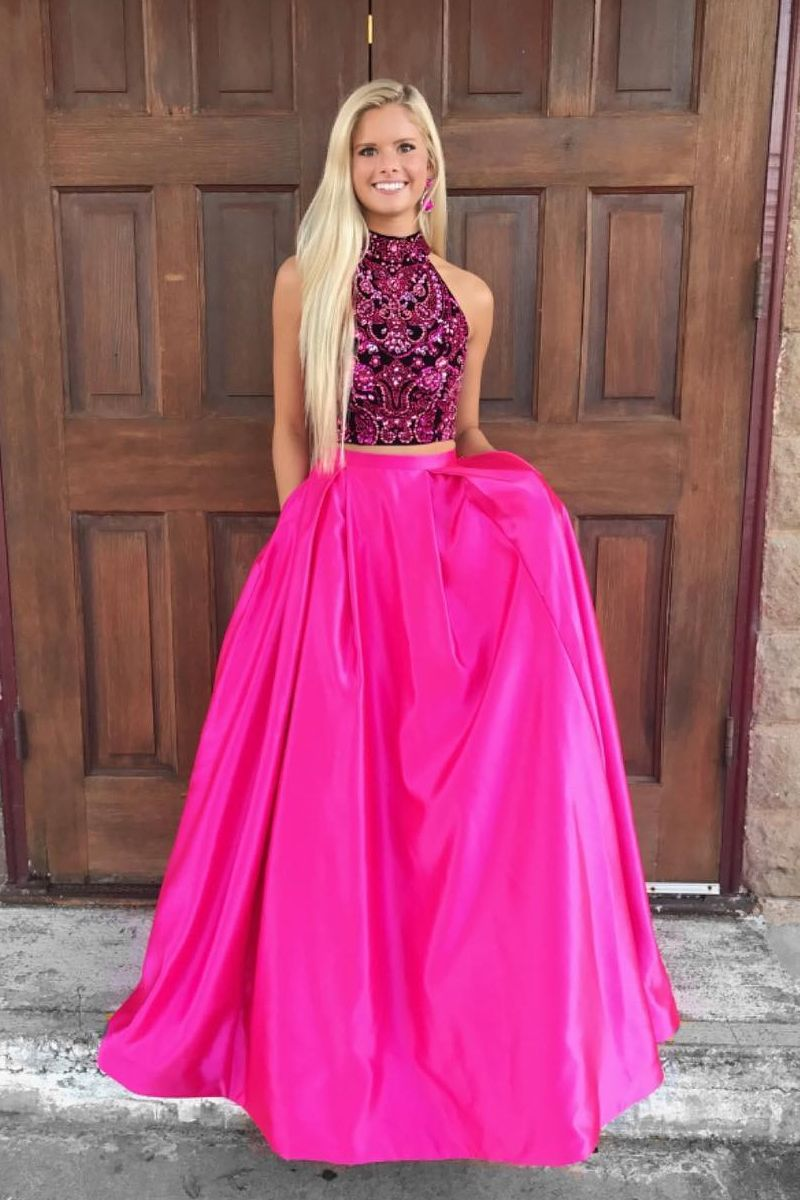 high neck prom dress, two piece long prom dress, 2018 prom dress ...