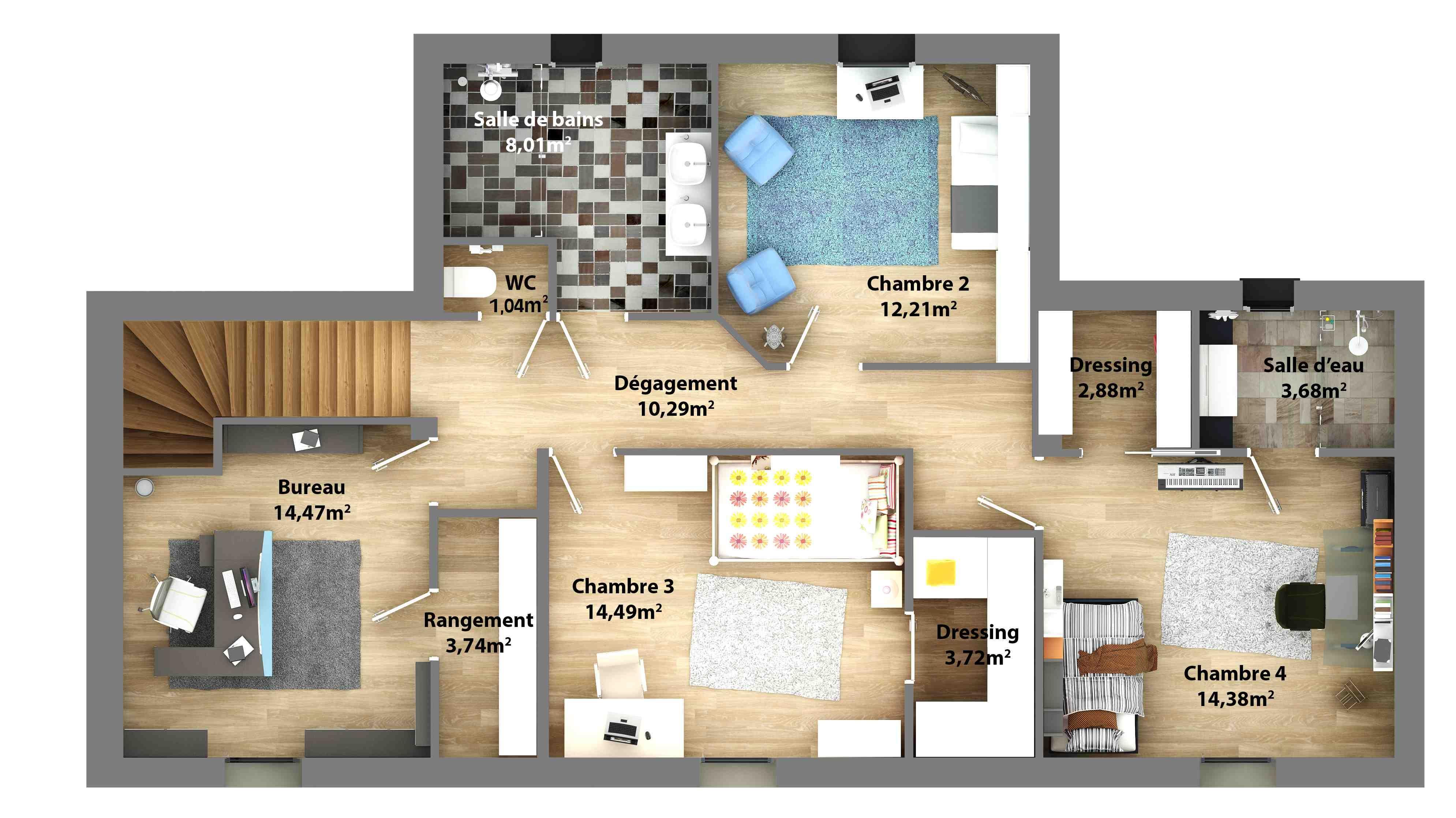 loft-2-plan-maison-etage.jpg (3979×2235) | Plan maison, Plan maison 3d, Plan maison 4 chambres