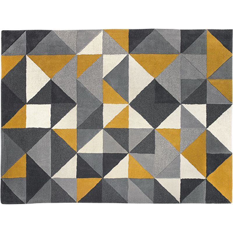 Henrik Hand Tufted Wool Rug 120 x 180cm, Mustard and Grey