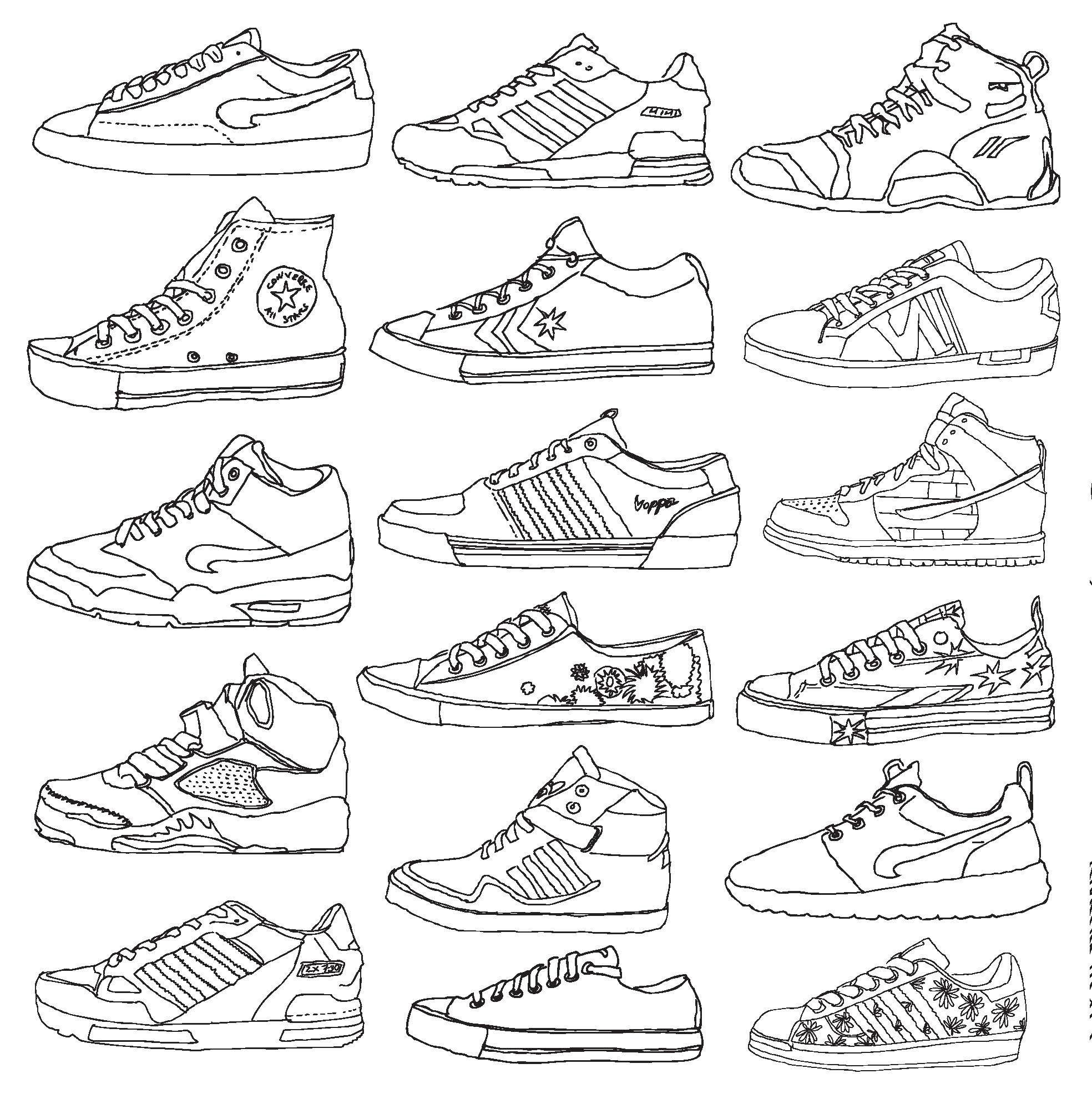 Coloring book pages of shoes - This Is Cool I Would Love To Color This It S Almost Like Making Your Own Style Shoes New York Coloring Pages