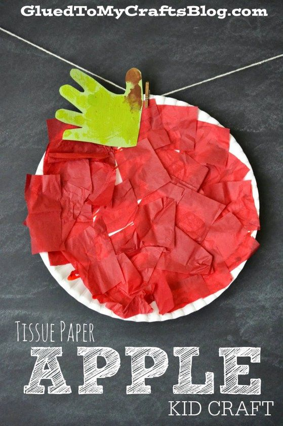 Tissue Paper Apple Kid Craft is part of Cute Kids Crafts Activities - Today I'm sharing another kid friendly activity that is SUPER simple to pull together  I call it the Paper Plate & Tissue Paper Apple Kid Craft