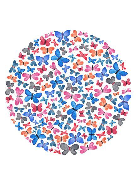 Watercolour Butterflies.  Art Print